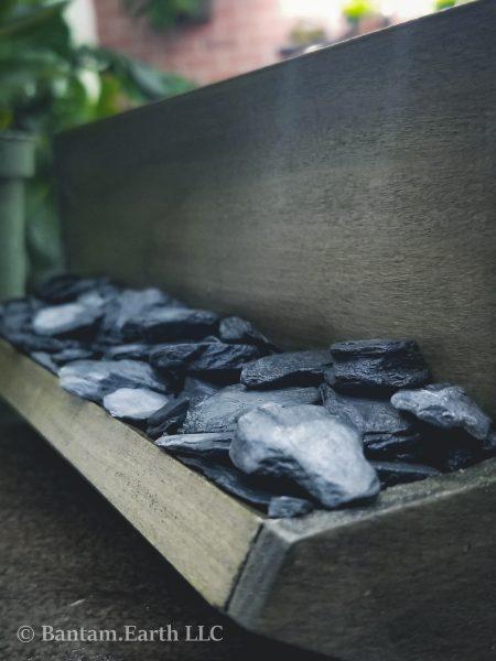 Slate rocks in a planter box