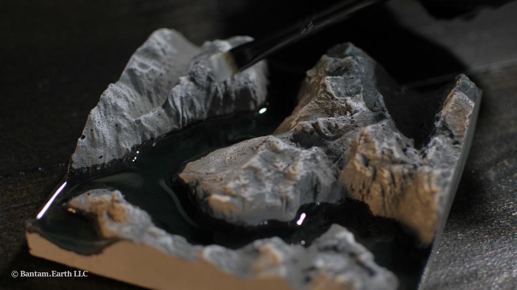 Painting Mini Rocky Cliff Terrarium Decor
